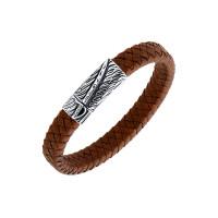 Мужской браслет из кожи, вставки из стали ЧДЕ58413