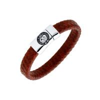Мужской браслет из кожи, вставки из стали ЧДЕ58409