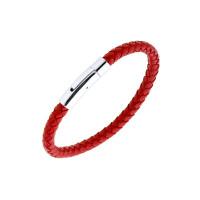Мужской браслет из кожи, вставки из стали ЧДЕ41609