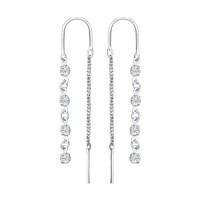 Серебряные серьги протяжки с фианитами ДИ94020804