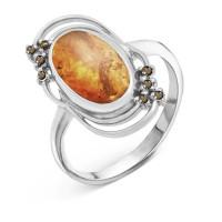 Серебряное кольцо с янтарем и фианитами РО310073-640Р
