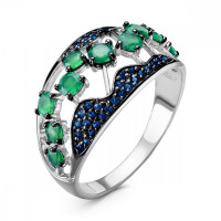 Серебряное кольцо с агатами и шпинелями сапфирами