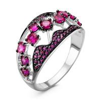 Серебряное кольцо с корундами рубинами РО1-1081Р-415