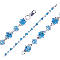 Серебряный браслет с кварцем плавленым РОБРС055Р-102