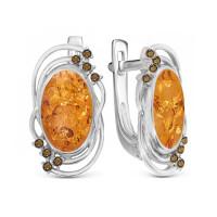 Серебряные серьги с янтарем и фианитами РО320073-640Р