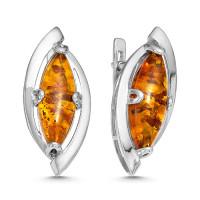 Серебряные серьги с янтарем РОСП3Р640