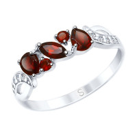 Серебряное кольцо с гранатами и фианитами ДИ92011594