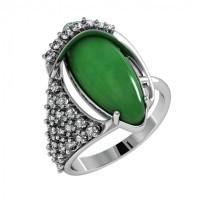 Серебряное кольцо с фианитами и агатами