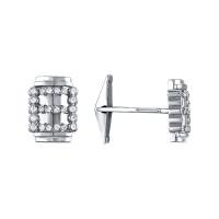 Серебряные запонки с фианитами АБ0285781
