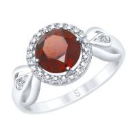 Серебряное кольцо с гранатами и фианитами ДИ92011675