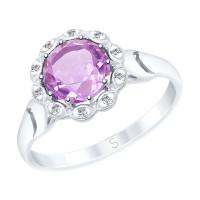 Серебряное кольцо с аметистом и фианитами ДИ92011534