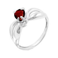 Серебряное кольцо с гранатами и фианитами РОК1691Р404