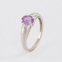 Серебряное кольцо с аметистами и фианитами РОК1689Р401