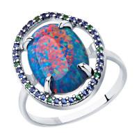 Серебряное кольцо с опали синтами и фианитами ДИ83010055
