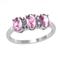 Серебряное кольцо с фианитами и алпанитами