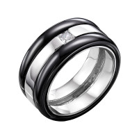 Серебряное кольцо с керамикой и фианитами РОТЦ-Р01071-Б-В-В-Х-Х