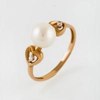 Золотое кольцо с жемчугом и фианитами ЮИК142-4546
