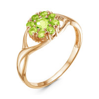 Золотое кольцо с хризолитами ЮИК120-3902Хр