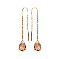 Золотые серьги протяжки с родолитами МБ02-1-932-6100-010