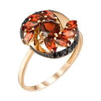 Золотое кольцо с гранатами и фианитами ЮИК124-4645Гр