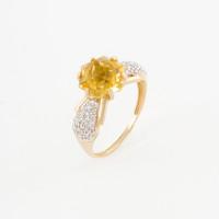 Золотое кольцо с кварцем и фианитами ЮИК322-4910К