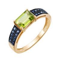 Золотое кольцо с хризолитами и фианитами ЮИК124-5423М13