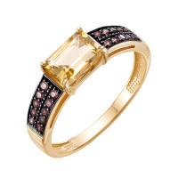 Золотое кольцо с цитринами и фианитами ЮИК124-5423М21