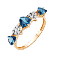 Золотое кольцо с топазами и фианитами ЮИК122-5425ТЛ