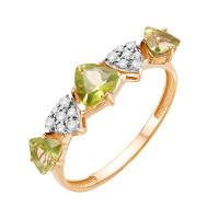 Золотое кольцо с хризолитами и фианитами ЮИК122-5425Хр
