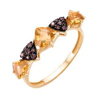 Золотое кольцо с цитринами и фианитами ЮИК124-5425М21