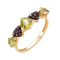 Золотое кольцо с хризолитами и фианитами ЮИК124-5425М25