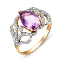 Золотое кольцо с аметистами и фианитами ЮИК122-2427ам