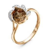Золотое кольцо с раухтопазом и фианитами ЮИК122-3366тр