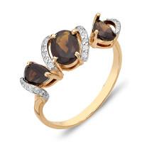 Золотое кольцо с раухтопазами и фианитами ЮИК122-1216тр