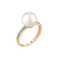 Золотое кольцо с жемчугом и фианитами ФЖ31073А3