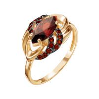 Золотое кольцо с гранатами и фианитами ЮИК124-4493гр