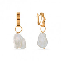 Золотые серьги подвесные с жемчугом СН0167-24