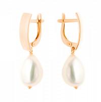 Золотые серьги подвесные с жемчугом СН0156-24