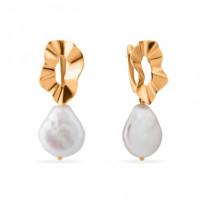 Золотые серьги подвесные с жемчугом СН0165-24