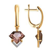 Золотые серьги подвесные с ситалом и фианитами ДИ725768
