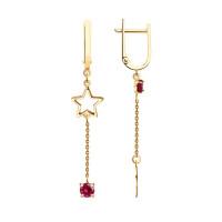 Золотые серьги подвесные с родолитами ДИ726847