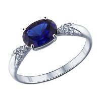 Серебряное кольцо с фианитами и корундами сапфирами