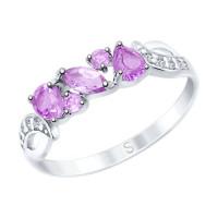 Серебряное кольцо с аметистами и фианитами ДИ92011593