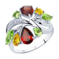 Серебряное кольцо с хризолитами, цитринами, гранатами и фианитами