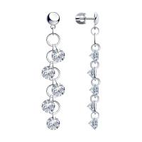 Серебряные серьги гвоздики с фианитами ДИ94023938