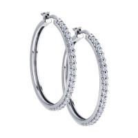 Серебряные серьги конго с фианитами ДИ94024029