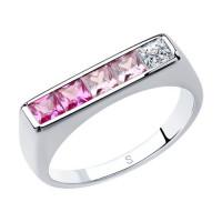 Серебряное кольцо с корундами и фианитами