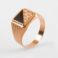 Золотая печатка с ониксами 2И040043