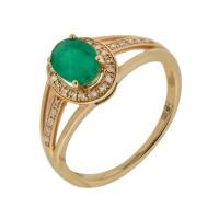 Золотое кольцо с бриллиантами и изумрудом ЛВК672ЕМА4РТ