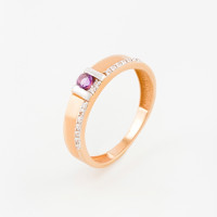 Золотое кольцо с аметистами и фианитами ЮПК1348169ам